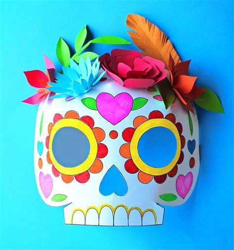 day of the dead skull mask template day of the dead ideas color in calavera masks activity