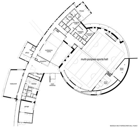 multi purpose hall floor plan musholm extension aart architects archdaily