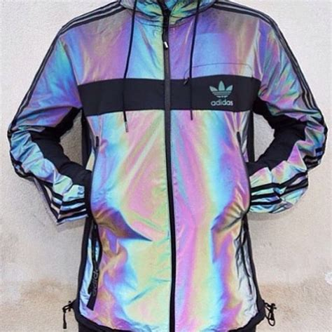 Jaket Flores Is Awesome holographic rainbow adidas jacket on the hunt
