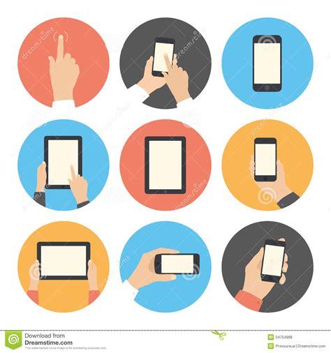 mobile communication flat icons set royalty free stock