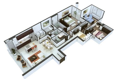 3 bedroom design layout 25 more 3 bedroom 3d floor plans