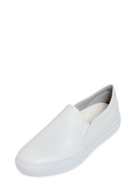 white slip on sneakers for vagabond leather slip on sneakers in white for lyst