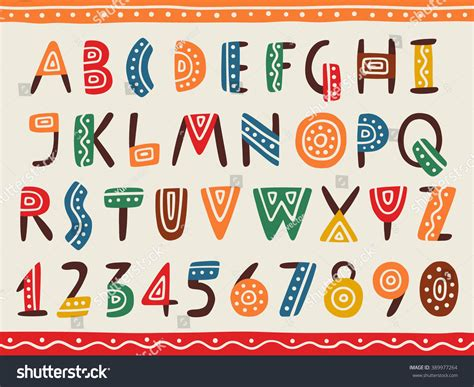 design font ethnic tribal ethnic bright alphabet and number hand drawn