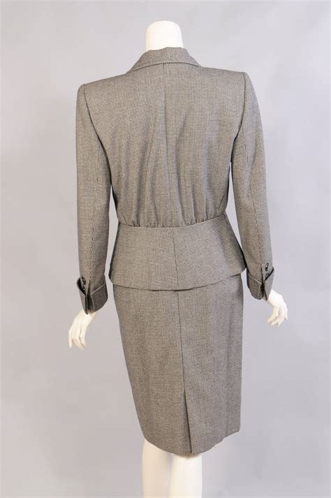 Ysl Set 5 In 1 Grey 1314 yves laurent haute couture hounds tooth check wool
