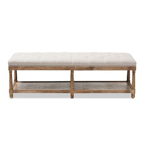beige bench baxton studio celeste french country weathered oak beige
