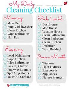 cleaning house checklist my daily cleaning checklist clutterbug me