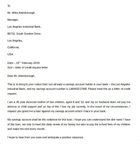Credit Agreement Request Letter Template Sle Letter Of Credit 14 Sles Exles Format