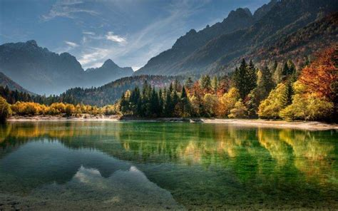 Dusk Autumn Forest Lake Water Nature Landscape Lake Mountain Forest Fall Mist