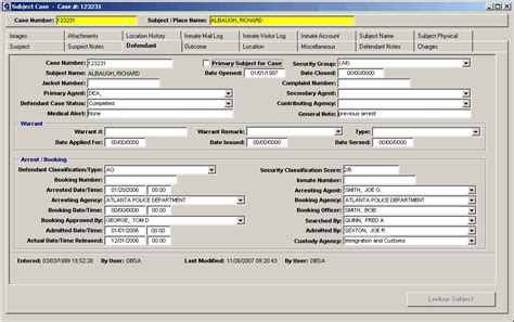 Warrant Number Search Defendant Module