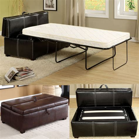 ottomans with beds inside black brown leatherette storage ottoman bench foldable bed sleeper mattress ebay