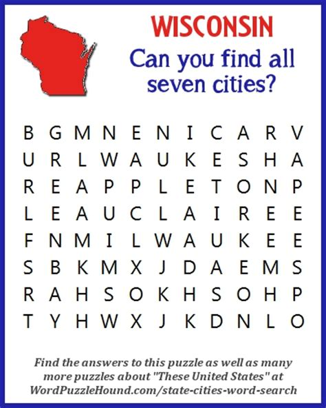 Wis Search State Of Wisconsin Cities Word Search Word Puzzle Hound
