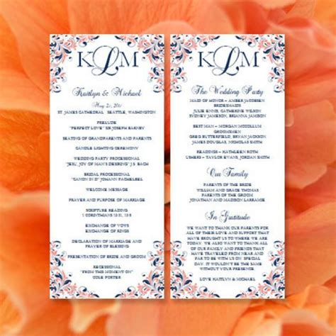 wedding blessing order of service template wedding order of service program template thingsgalaqp