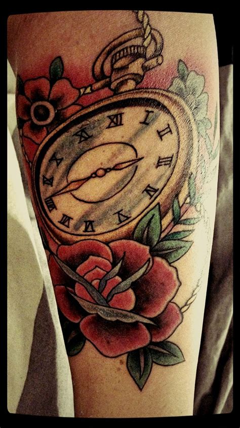 quadri tattoo old school traditional tattoo rose clock oldschool traditional