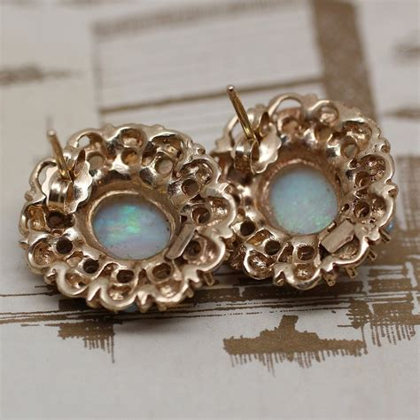 Pippin Vintage Jewelry by Circa 1930s 1950s 14k Opal Earrings Pippin Vintage Jewelry