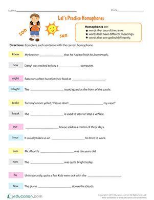 Homograph Worksheets by 4th Grade Spelling Worksheets Free Printables