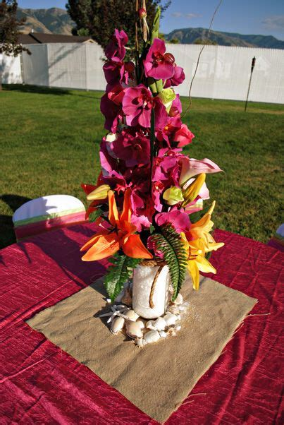 luau themed wedding hawaiian centerpieces themed weddings and themed weddings