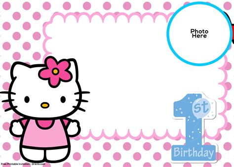 hello kitty printable invitation template free hello kitty 1st birthday invitation template drevio