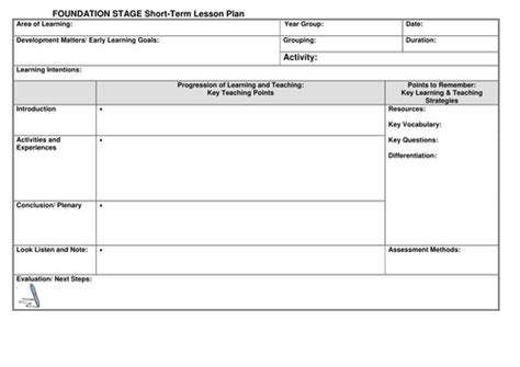 eyfs lesson plan template by noaddedsugar teaching