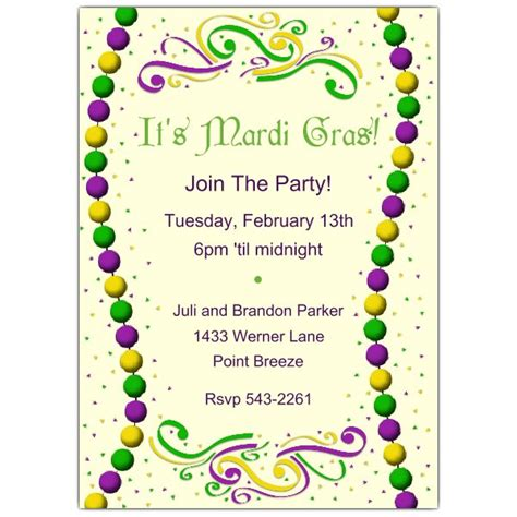 mardi gras invitation template beaded mardi gras invitations paperstyle