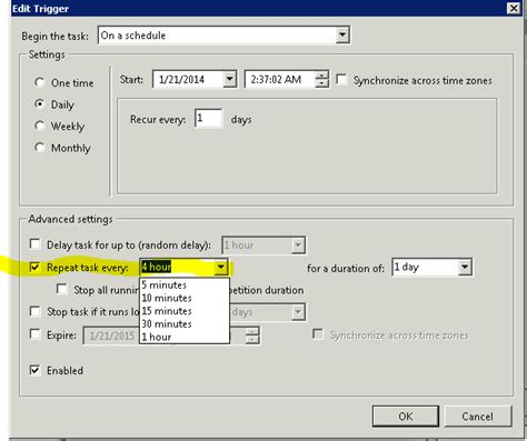 how to schedule a task in windows windows run a script every 4 hours with task scheduler