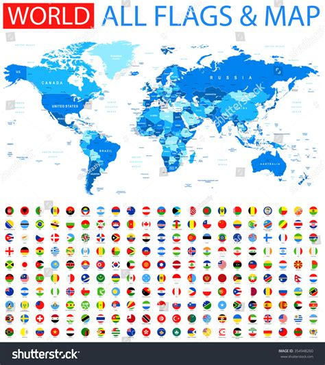 all flags map all flags world map vector collection stock vector