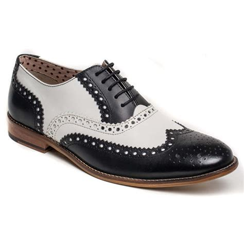 handmade wingtip brogue leather shoes black and