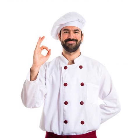 chef background chef ok sign white background photo free