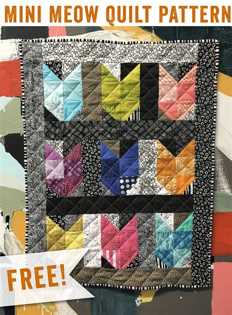 free tutorial mini meow quilt by happy hour stitches