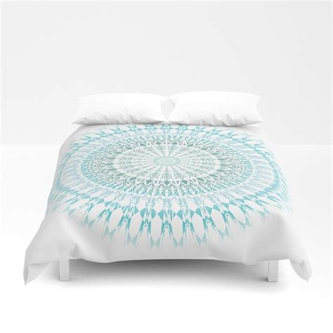 White And Turquoise Duvet Cover by Turquoise White Mandala Duvet Cover By Ninabaydur Society6