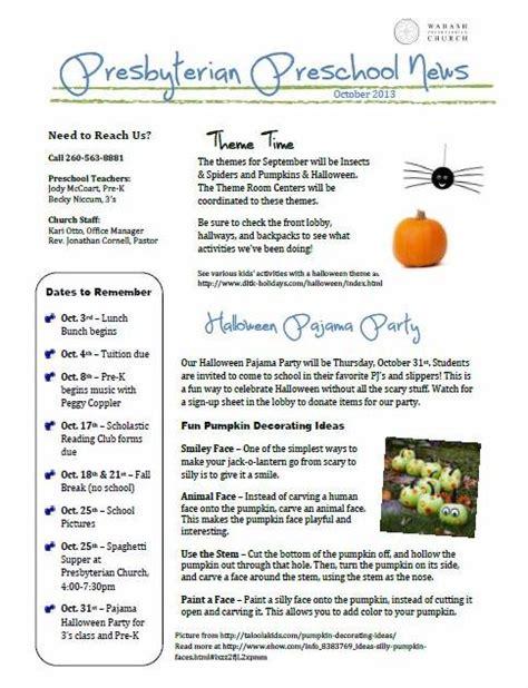 october preschool newsletter template october 2013 preschool newsletter 171 wabash presbyterian church
