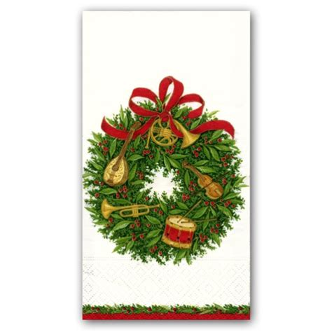 musical christmas wreath guest towels paperstyle