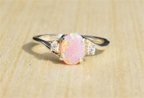 Wedding Anniversary Gift Opal by Silver Lab Opal Ring Pink Opal Ring Opal Engagement Ring