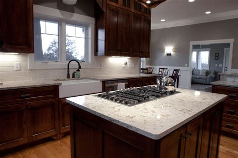 Kitchen Island With Sink And Stove Top Black Gas Stove Top On White Cambria Quartz Granite Top Island With Sweet White Farmhouse