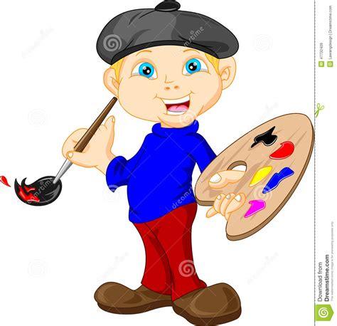 imagenes de otoño caricatura el ni 241 o peque 241 o est 225 pintando con la brocha ilustraci 243 n