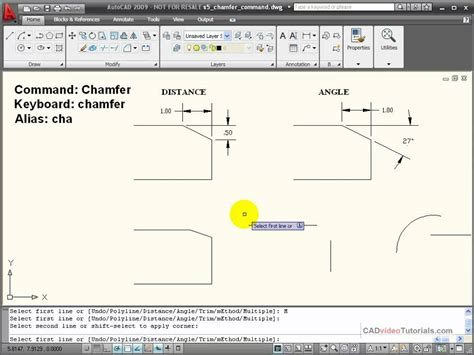 autocad tutorial with commands autocad tutorial using the chamfer command youtube