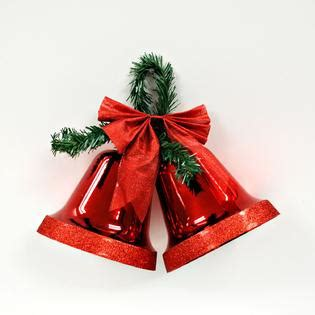 large glittery red bells and glitter bow christmas