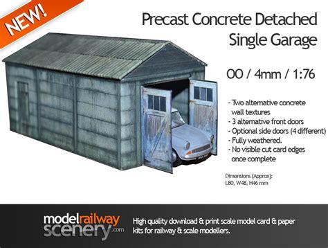 single garage precast concrete detached single garage oo scale card