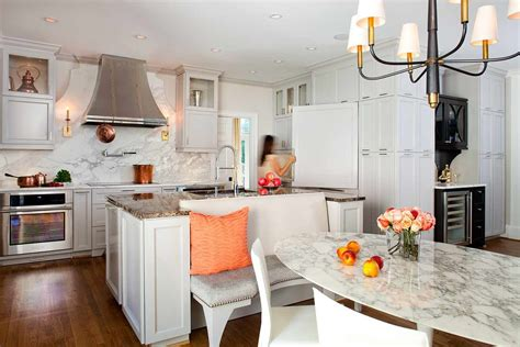 Custom Kitchen Banquette Seating Marble Dining Table Kitchen Transitional With Banquette