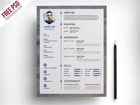 Resume Psd by Freebie Free Clean Resume Psd Template By Psd Freebies