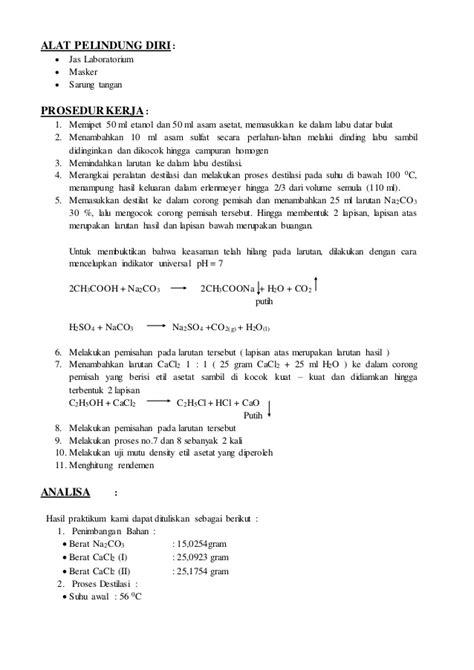 contoh pembuatan laporan praktikum biologi contoh laporan pembuatan etil asetat mpd