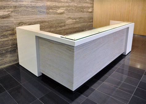 grey and white l custom white and grey l shaped reception desk with floated