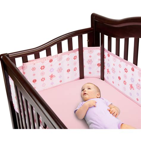 breathable baby deluxe crib liner in pink floral