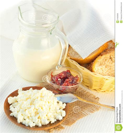 jug with milk cottage cheese and jam royalty free stock