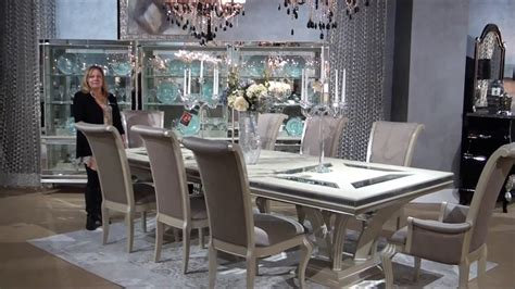 Michael Amini Dining Room Set Swank Rectangular Glam Dining Room Set By Michael Amini Seymour Aico