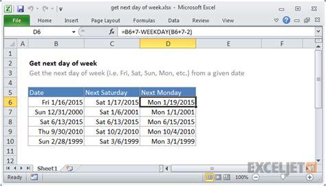 format excel day of week excel formula get next day of week exceljet