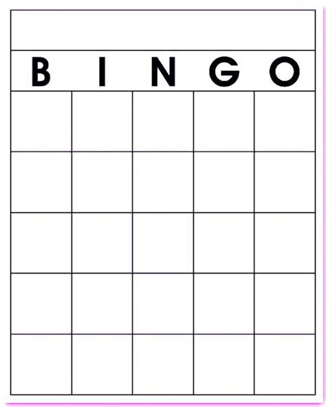 Large Card Template Printable by Free Blank Bingo Card Template Printable