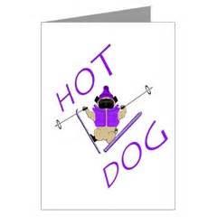 pug skiing pugs dogbreed gifts pug greeting cards notecards
