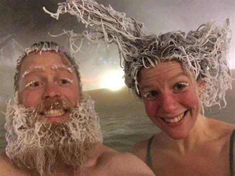 frozen hair hot springs brrrr there s a crazy hair freezing contest at a
