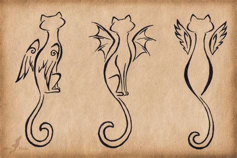 trio tattoos winged cats trio design by alviaalcedo on deviantart