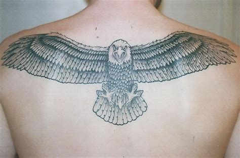 eagle back tattoo flying eagle grey ink back for